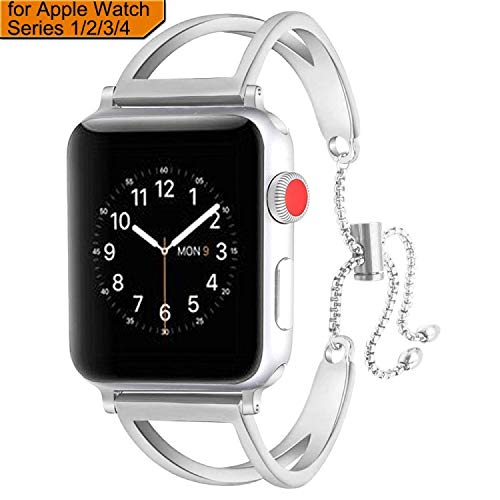 sunkeyou Compatible with Iwatch Band 38mm/40mm 42mm/44mm, Newest Released Jewelry Bangle Cuff Replacement Bracelet Straps for Iwatch Series 4 3 2 1 All Models (Silver 2, 38mm/40mm)