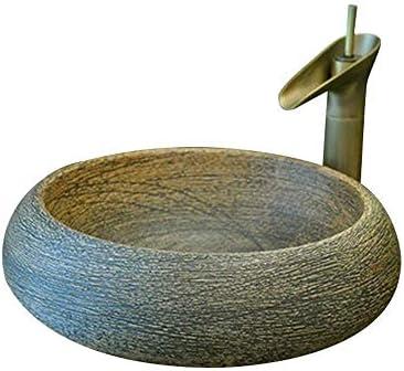 Yadianna セラミック洗面シンクボウル、バスルームグロスカウンター盆地シンクセラミック、耐久性のあるラウンド43X15センチ(蛇口含まれていません)