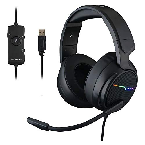 chollos oferta descuentos barato THE G LAB Korp Thallium Cascos Gaming USB 7 1 Digital Surround Auriculares Gaming Micrófono con cancelación de Ruido LED RGB Compatible con PC PS4 Mac Negro