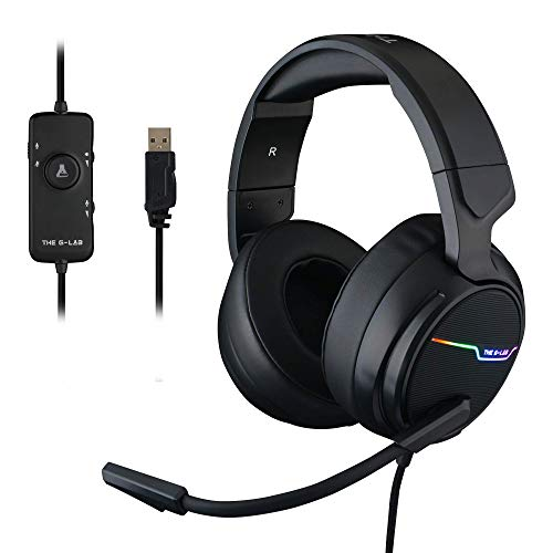 🥇 THE G-LAB Korp Thallium Cascos Gaming USB 7.1 Digital Surround – Auriculares Gaming Micrófono con cancelación de Ruido