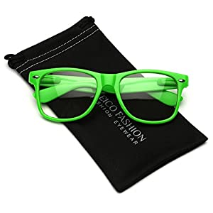 Iconic Square Horn Rimmed Clear Lens Retro Glasses (Green, 52)