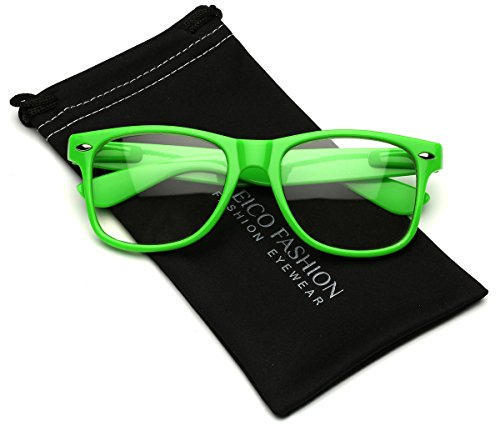 Iconic Square Horn Rimmed Clear Lens Retro Glasses (Green, - Glasses Green