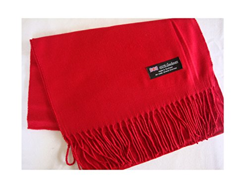 Red_Scarves Warm THICK WINTER Scarf SOLID Scotland Wool (US Seller) (Outboard Clamp Block)