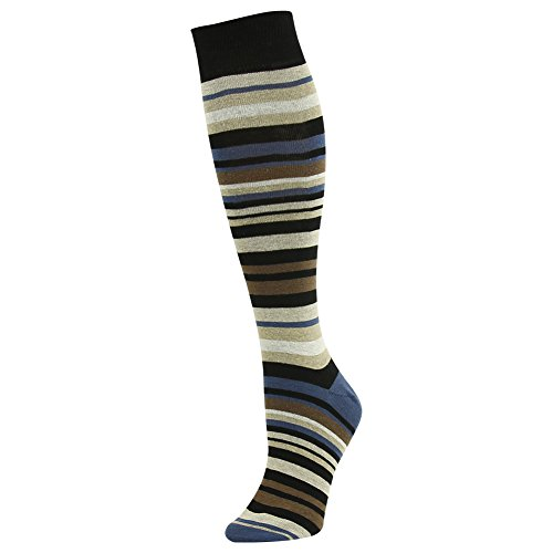 SUTTOS Unisex Adult Mens Womens Brown Yellow Black Funky Striped Heavy Duty Charged Cotton Soft Knee High Over-The-Calf Casual Crew Boot Socks,1 Pair from SUTTOS