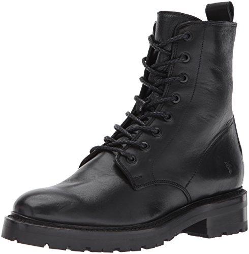 FRYE Women's Julie Combat Boot, Black Polished Soft Full Grain, 7 M US (Boots Leather Lined Combat)