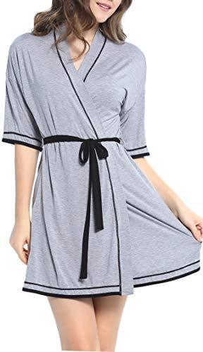 NORA TWIPS Womens Sleepwear Spa Robe Waffle Bathrobe Cotton Lightweight Nightgowns (Gray,XS) (Kimono Jersey)