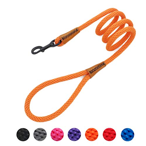 lynxking Braided Rope Dog Leashes Pet Dog Lead Leash Dog Traction Rope Leashes Dog Walking Training Lead for Medium Large Dogs (6Feet Orange)