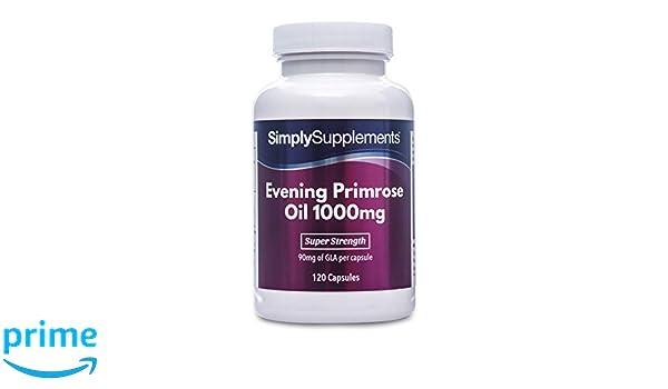 Aceite de Onagra 1000mg - 120 cápsulas - Hasta 4 meses de suministro - Para la salud del corazón y el equilibrio hormonal - SimplySupplements: Amazon.es: ...