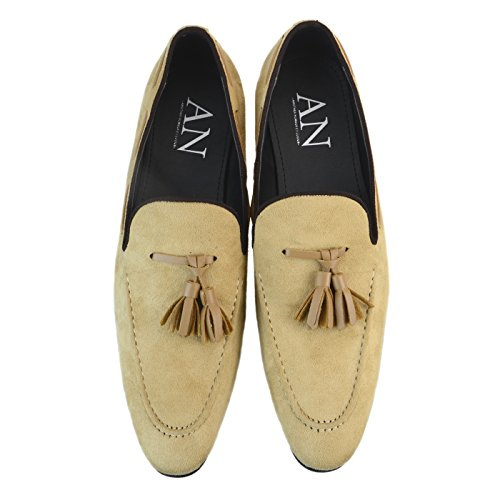 AN Mens Casaul Suede Tassel Loafers Dress Shoes Slip on Loafer Sneaker , Beige, 44 EU (US Men