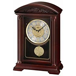Seiko Mantel Clock With Brown Wooden Case Plays One of 6 Hi-Fi Melodies Automatic Silencer