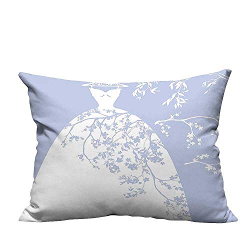 YouXianHome Home DecorCushion Covers Wedding Bride Dress with Floral Swirl Details Image Violet Blue and White Comfortable and Breathable(Double-Sided Printing) 13x17.5 inch ()