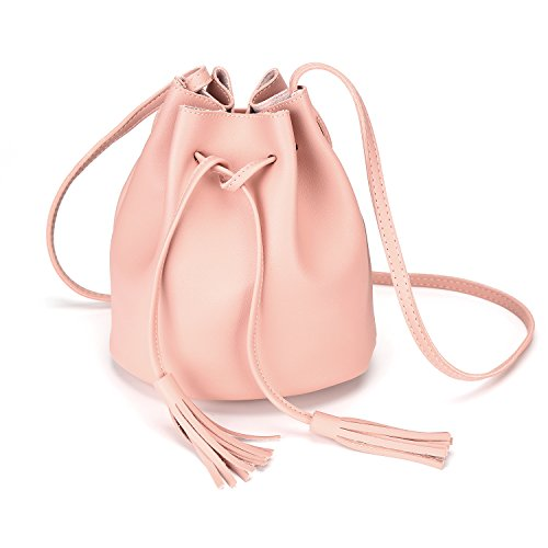 (Crossbody Handbags Drawstring Bucket Bag for Women Shoulder Bag Purse Tote PU Leather Bags (One Size, Pink))