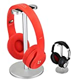 Headphone Holder Gaming Headset Stand Znoble Metal Earphone Holder Hanger with leather Flexible Headrest for All Headphones Sizes-Silver