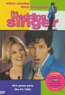 Drew Barrymore and Adam Sandler, the wedding singer, movie, film, 1998 american romantic comedy