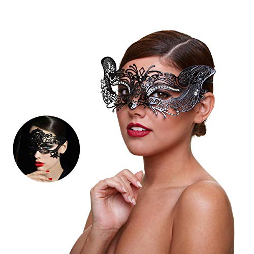 Masquerade Mask for Women Shiny Rhinestone Venetian Party Prom Ball Metal Mask (Fox)