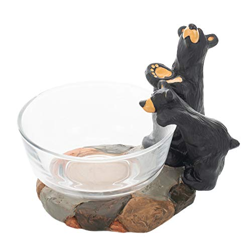 - Double Trouble Bears Natural Black 7 x 5 Hand-Cast Resin Stone Candy Dish