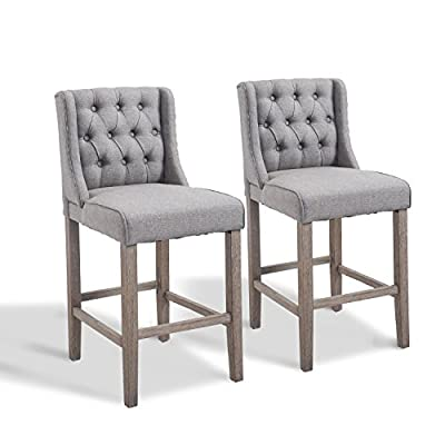"""HOMCOM 40"""" Tufted Wingback Counter Height Armless Bar Stool Dining Chair Set of 2"""