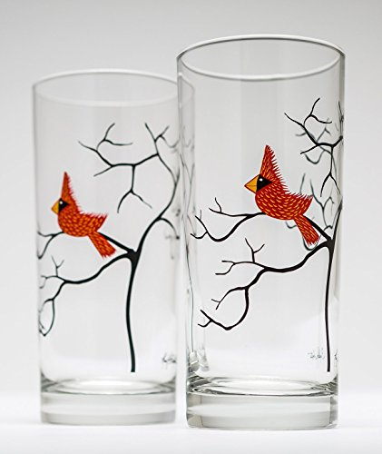 Christmas Cardinal Glassware – Set of 2 Everyday Drinking Glasses, Water Glasses, Christmas Glasses, Christmas Glassware, Holiday Tabletop, Holiday Gl…