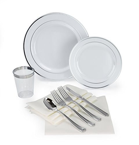 OCCASIONS 200 piece/25 guest Wedding Party, Heavyweight Disposable Dinnerware Set - Wedding Plastic Plates, linen like paper napkins, silver rim cups & Silverware (White w/silver rim)
