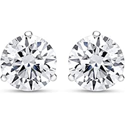 1/2 - 2 Carat Total Weight Round Diamond Stud Earrings 3 Prong Push Back (J-K Color I2 Clarity)