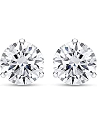 1/2 - 2 Carat Total Weight Round Diamond Stud Earrings 3 Prong Push Back (H-I Color VS1-VS2 Clarity)