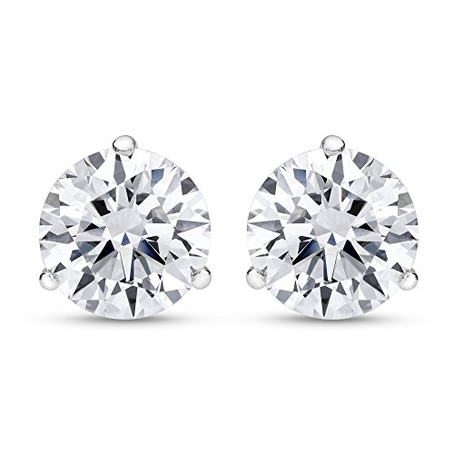 3/4 Carat 14K White Gold Solitaire Diamond Stud Earrings Round Brilliant Shape 3 Prong Push Back (F-G Color, I1 Clarity) by Chandni Jewelers