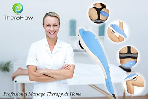 TheraFlow Handheld Deep Tissue Percussion Massager. Muscles, Back, Body, Neck, Foot, Shoulder, Scalp, Head. Trigger Point Pain Relief, Relaxation. Attachments for Acupoint, Shiatsu, Kneading. Gift