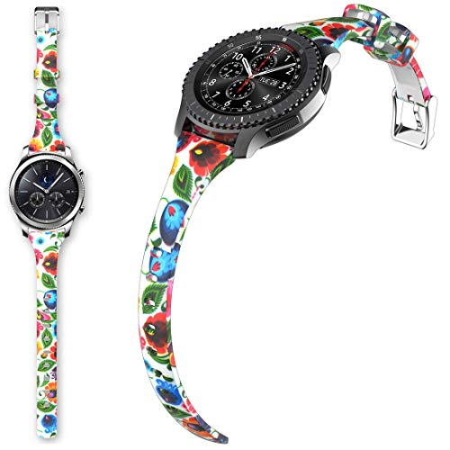 Gear S3 Bands, for Women Silicone Watch Bands Narrow Girls Rubber Watch Strap Flowers Quick Release Replacement Wristband Metal Clasp Samsung Gear s3 Frontier/s3 Classic Smart Watch (XH2-A167, 22mm)