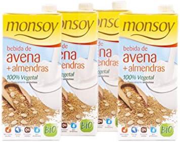 Monsoy - Bebida de Avena con Almendras - Caja de 4 x 1L: Amazon.es: Alimentación y bebidas