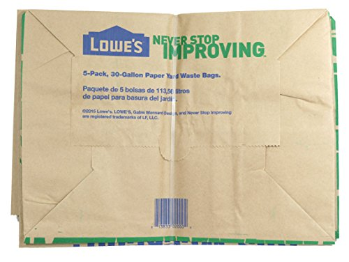 Lowe's 30 Gallon Heavy Duty Brown Paper Lawn and Refuse Bags for Home and Garden (25 Count) by Lowe's (Image #3)