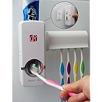 RC Auto Dispensador de pasta de dientes, manos libres Exprimidor de pasta de dientes Soportes de cepillo de dientes de montaje en pared Organizador de baño con 2 ganchos, palos y cepillo de limpieza Blanco