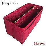 [Evelyne 29] JennyKrafts Purse Insert (3mm Felt, Detachable Pouch w/Metal Gold Zip), Tote Bag Organizer Pockets