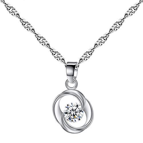 Couple Necklace, Snowfoller SL522 Soulmate Crystal Pendant Necklace Imitation Diamond Faceted Tourmaline Necklace(Silver)