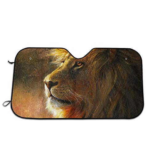 Lion Paint Car Sunshade 27.5 X 51 in Oxford Cloth + Pearl Aluminum Film Heat Resistant, Effectively Protect Your Car Interior from Aging