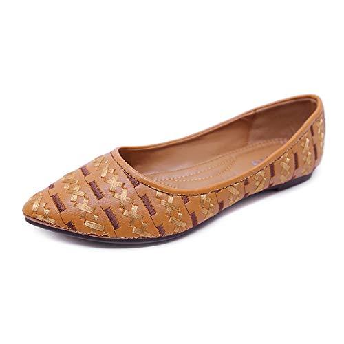 HRCxue Pumps Flache Spitze Schuhe der der der ethnischen Frauenschuhe Flacher Mund d20b49