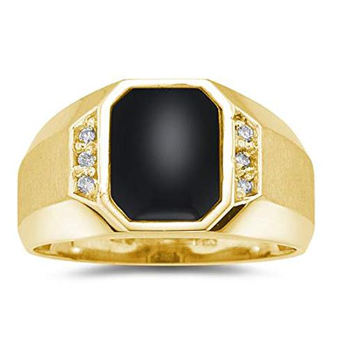 Yellow Onyx Ring Gold - 10K Yellow Gold Onyx and Diamond Men's Ring