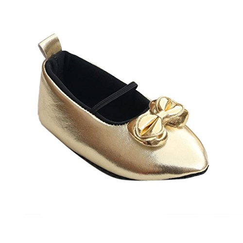 Mosunx(TM) Baby Toddler Infant Girl Soft Sole Bow Prewalker Crib Shoes (0~6 Month, Gold)