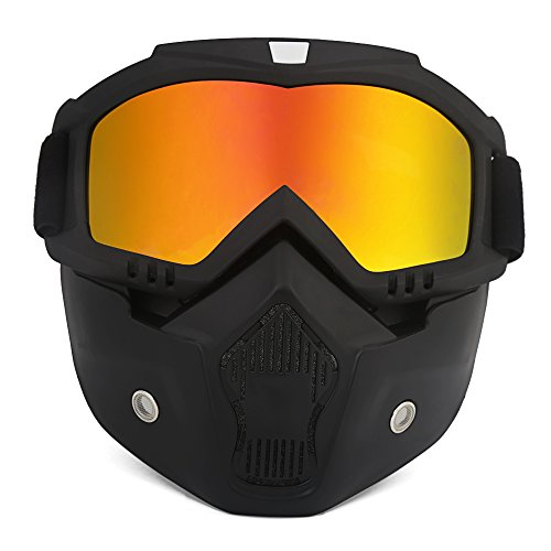 ThyWay Anti-Fog Windproof Motorcycle Goggles Riding Detachable Modular Face Mask Shield Goggles - Protect Padding Mouth Filter for Motorcycle Helmet (Red)