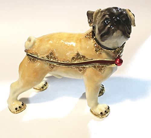 - Kalifano Jeweled Enameled Bull Dog Trinket Box Crystals