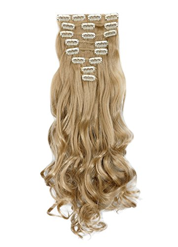 [Haironline 3-5 Days Delivery 8Pcs 18 Clips 17 Inch Curly Straight Full Head Clip in on Hair Extensions] (Cruella De Vil Costume Makeup)