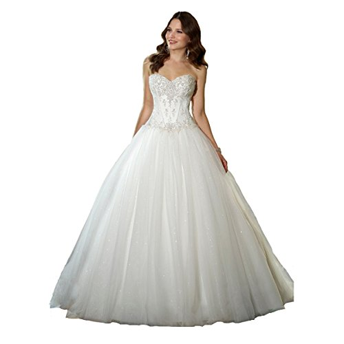 (YIPEISHA Sweetheart Beaded Corset Bodice Classic Tulle Wedding Dress 14 White)
