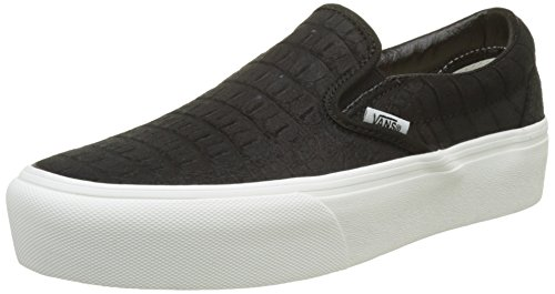 Vans Platform Classic De Black Donna Sneaker on Blanc Embossed Blanc Leather Multicolore Slip pUFp4r