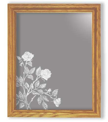 Decorative Framed Mirror Wall Decor With Rose Flower Etched Mirror - Rose Flower Decor - Unique Rose Flower Gift Ideas - Ready To Hang - 27'' w x 35'' h