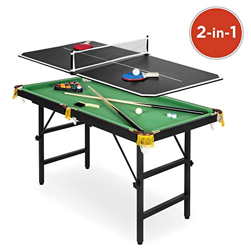 Best Choice Products Kids 4ft Portable 2-in-1 Ping Pong and Pool Combination Arcade Game Table Set w/Foldable Legs, 15 Billiard Balls, 2 Cue Sticks, Triangle, 2 Paddles, 1 Ball, Net – Multicolor
