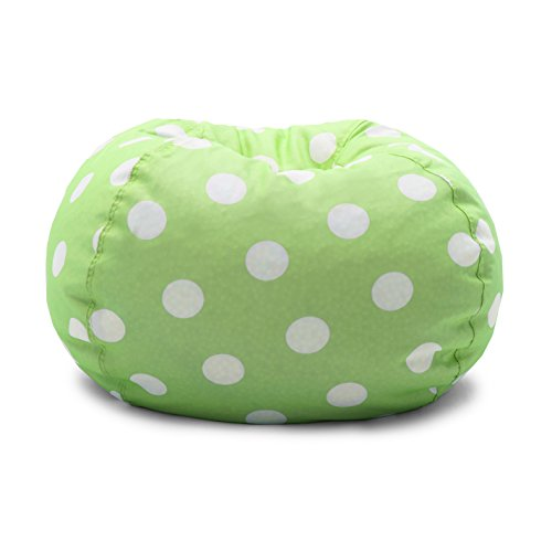 Big Joe 0630250, Chartreuse Polka Dot Classic Bean Bag Chair, White
