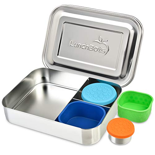 LunchBots Large Trio Bento Box Bundle -Three Section Design for Sandwich and Two Sides - Metal Bento Lunch Box for Kids or Adults - Eco-Friendly - Stainless Lid - Stainless Bundle