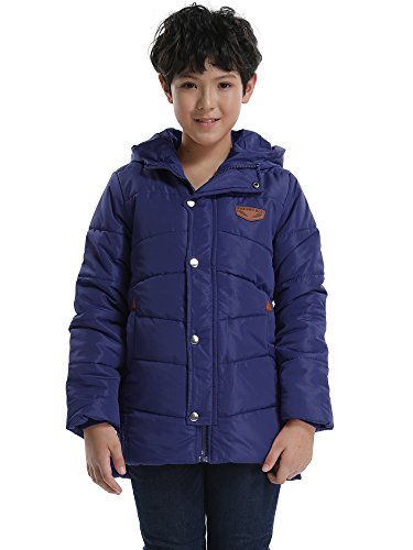 OCHENTA Boys Winter Cotton Quilted Outerwear, Hooded Parka Coat