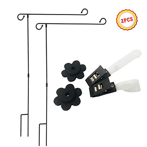 - QSUM 2 Pack Garden Flag Stand Holder Easy to Install Strong and Sturdy Wrought Iron Yard Flag Pole with 2 Pair Garden Flag Stopper and Anti-Wind Clip Without Flag