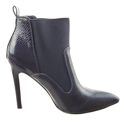 Sopily - Chaussure Mode Bottine Chelsea Boots Low boots Bi-matière Montante femmes Peau de serpent Talon haut aiguille 10.5 CM - Bleu