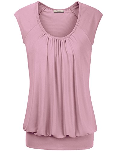 Tank Tops for Women,Bebonnie Womens Short Sleeve Summer Pleasant Tunic Top Blouses T Shirt Tank Top XXL Pink